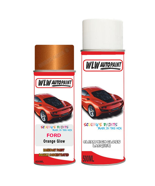 Ford Transit Orange Glow Aerosol Spray Car Paint Can With Clear Lacquer