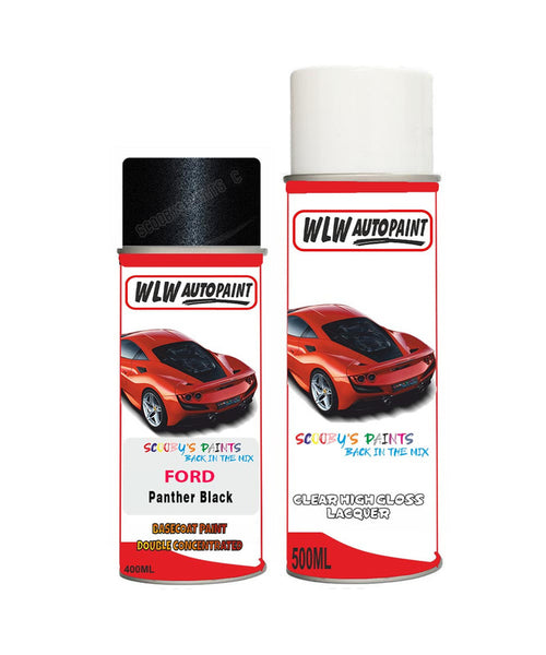 Ford Kuga Panther Black Aerosol Spray Car Paint Can With Clear Lacquer