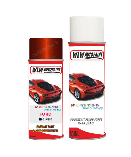 Ford C-Max Red Rush Aerosol Spray Car Paint Can With Clear Lacquer
