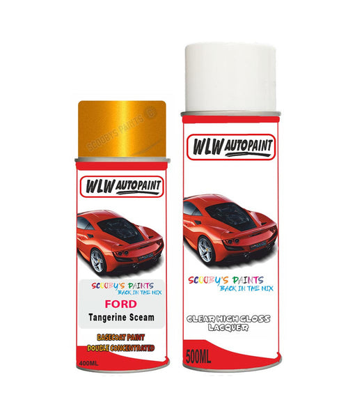 Ford C-Max Tangerine Scream/Electric Gold Aerosol Spray Car Paint Can With Clear Lacquer
