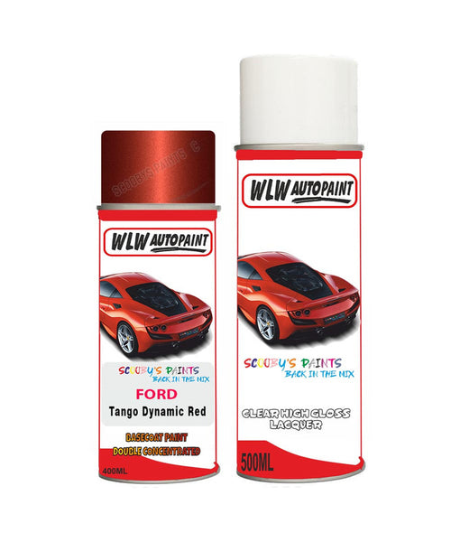 Ford C-Max Tango Dynamic Red Aerosol Spray Car Paint Can With Clear Lacquer