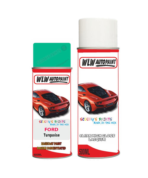 Ford Fiesta Turquoise Aerosol Spray Car Paint Can With Clear Lacquer