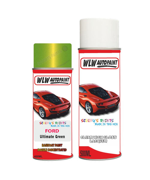 Ford Fiesta Ultimate Green Aerosol Spray Car Paint Can With Clear Lacquer