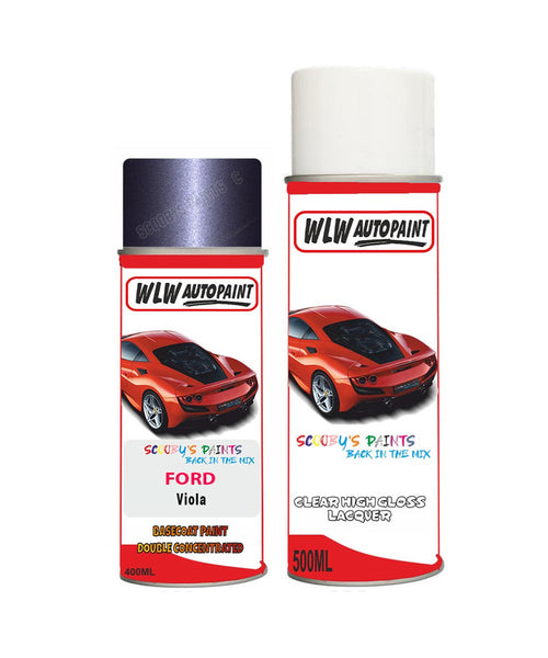 Ford Fiesta Viola Aerosol Spray Car Paint Can With Clear Lacquer