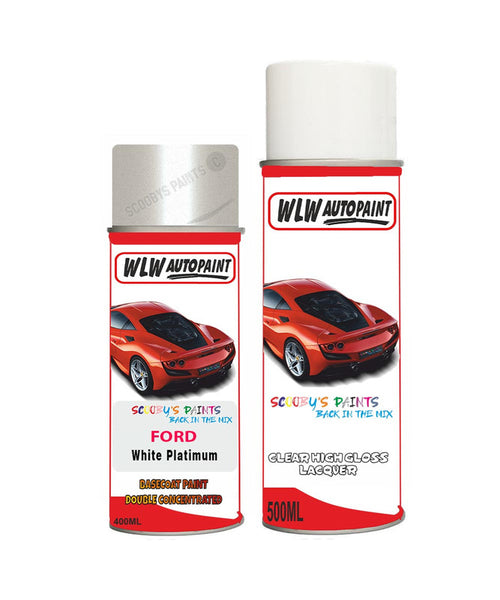 Ford S-Max White Platinum Aerosol Spray Car Paint Can With Clear Lacquer