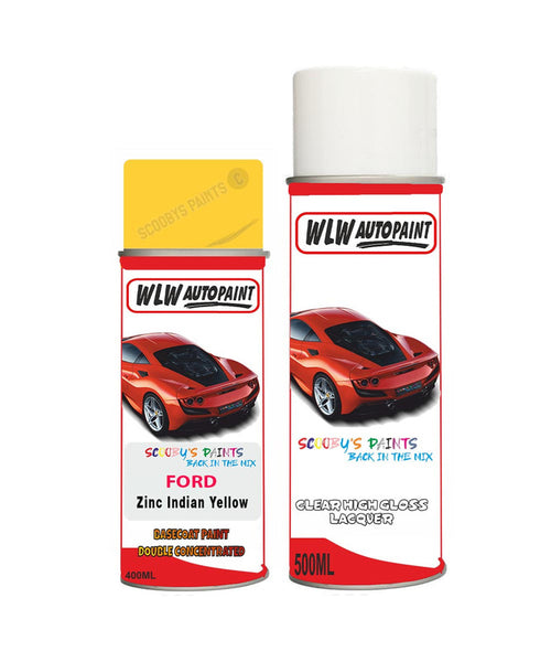 Ford Mondeo Zinc Indian Yellow Aerosol Spray Car Paint Can With Clear Lacquer