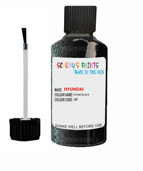 Hyundai I30 Stone Black 9F Car Touch Up Paint Scratch Repair 2006-2014