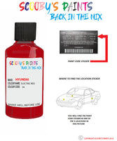 Hyundai I10 Electric Red H4 Car Touch Up Paint Scratch Repair