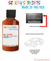 Hyundai I30 Phoenix Orange Ry9 Car Touch Up Paint Scratch Repair