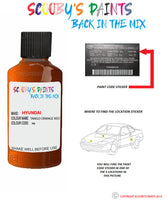 Hyundai Accent Tango Orange Red N8 Car Touch Up Paint Scratch Repair
