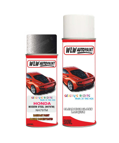 Honda Br-V Modern Steel Nh797M Car Aerosol Spray Paint With Lacquer 2012-2018