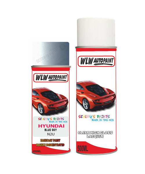 Hyundai Mistra Blue Sky N2U Car Aerosol Spray Paint + Lacquer