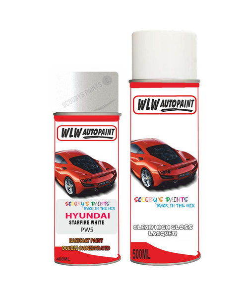 Hyundai Mistra Starfire White Pw5 Car Aerosol Spray Paint + Lacquer