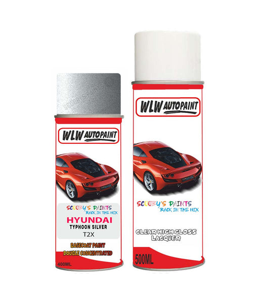 Hyundai Elantra Typhoon Silver T2X Car Aerosol Spray Paint + Lacquer
