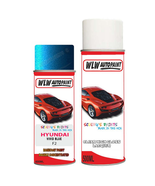 Hyundai Ix25 Vivid Blue F2 Car Aerosol Spray Paint + Lacquer