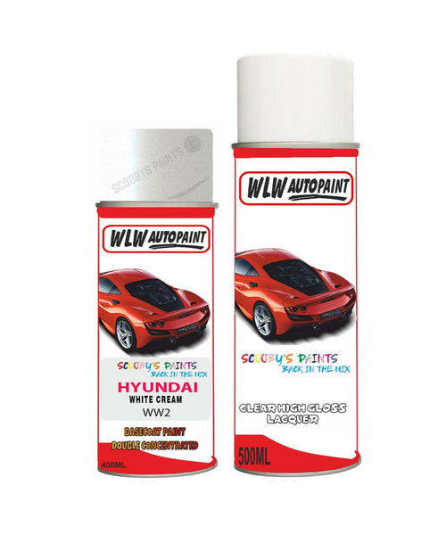 Hyundai Santa Fe White Cream Ww2 Car Aerosol Spray Paint + Lacquer