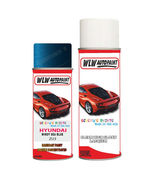 Hyundai Elantra Windy Sea Blue Zu3 Car Aerosol Spray Paint + Lacquer