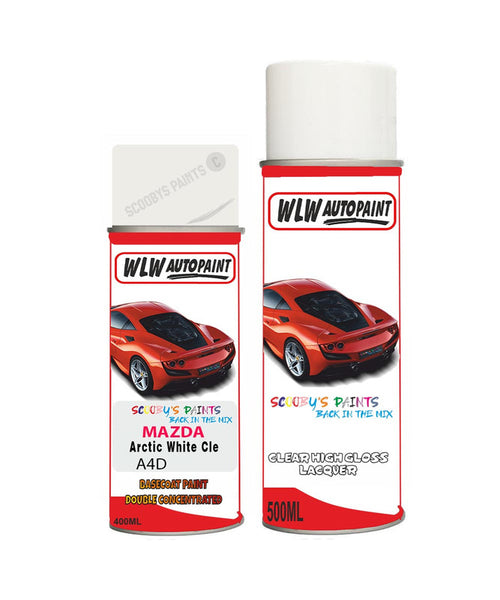 Mazda 8 Arctic White Cle Aerosol Spray Car Paint + Lacquer A4D