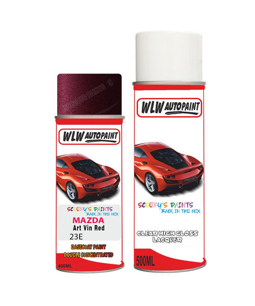 Mazda 3 Art Vin Red Aerosol Spray Car Paint + Clear Lacquer 23E