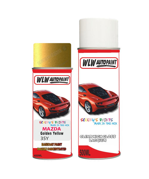 Mazda 8 Golden Yellow Aerosol Spray Car Paint + Lacquer 35Y