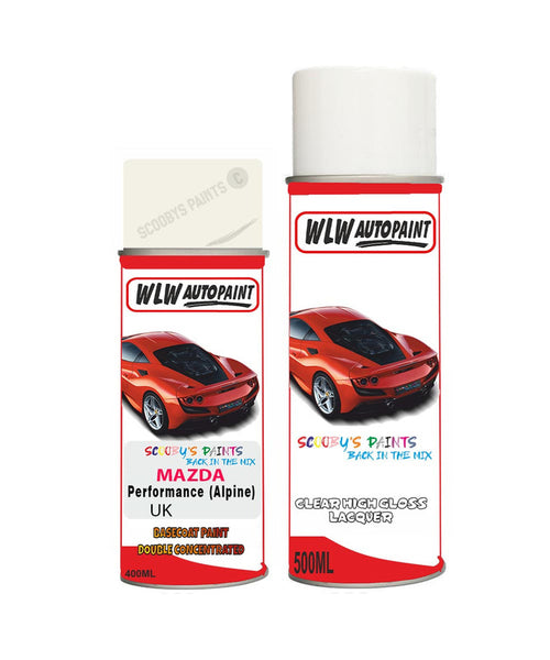 Mazda Mx6 Performance (Alpine) White Aerosol Spray Car Paint + Clear Lacquer Uk