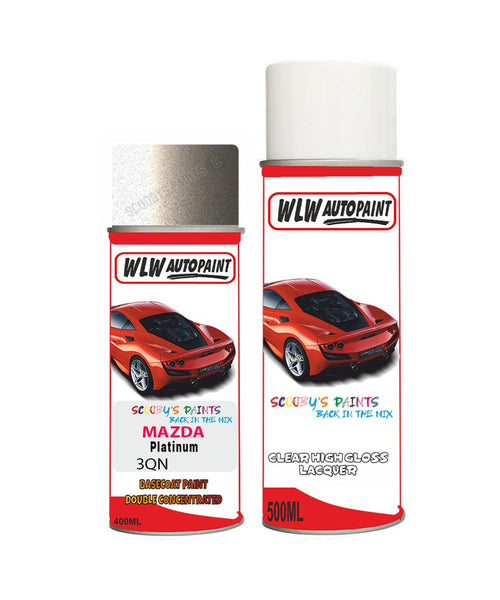 Mazda Mx6 Platinum Aerosol Spray Car Paint + Clear Lacquer J3