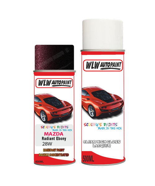 Mazda 8 Radiant Ebony Aerosol Spray Car Paint + Lacquer 28W