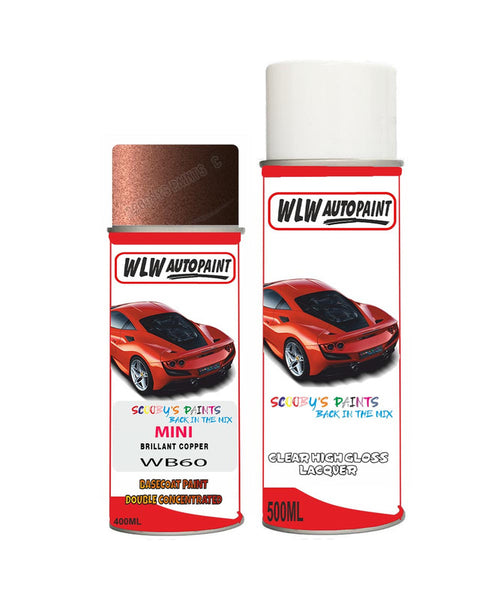 Mini Cooper S Paceman Brillant Copper Aerosol Spray Car Paint + Clear Lacquer Wb60