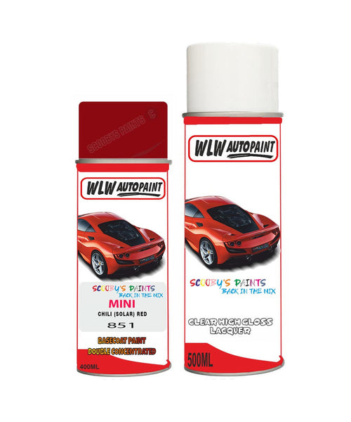 Mini Cooper S Jcw Chili (Solar) Red Aerosol Spray Car Paint + Clear Lacquer 851