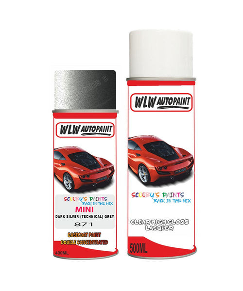 Mini Cooper S Jcw Dark Silver (Technical) Grey Aerosol Spray Car Paint + Clear Lacquer 871