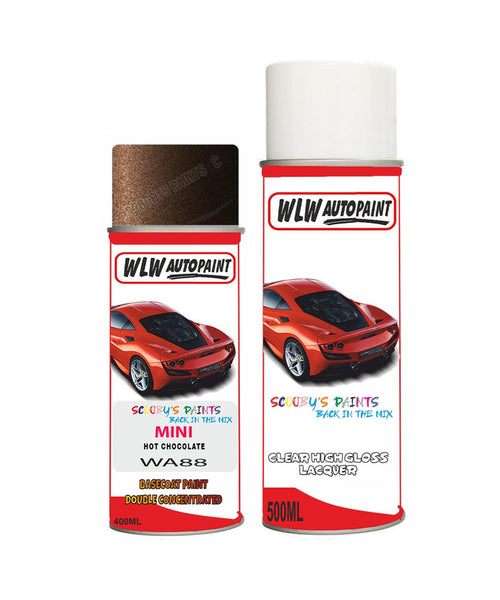 Mini Cooper S Jcw Hot Chocolate Aerosol Spray Car Paint + Clear Lacquer Wa88