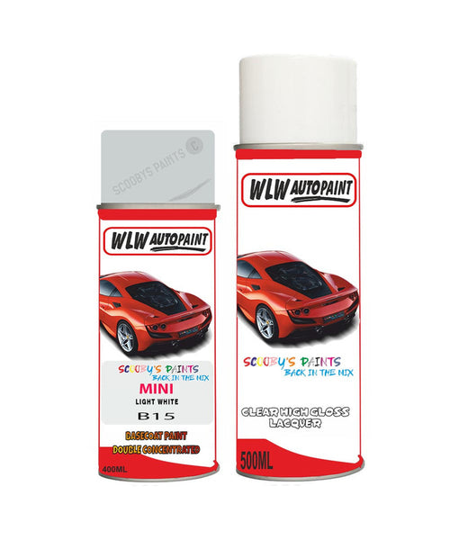 Mini Cooper S Paceman Light White Aerosol Spray Car Paint + Clear Lacquer B15