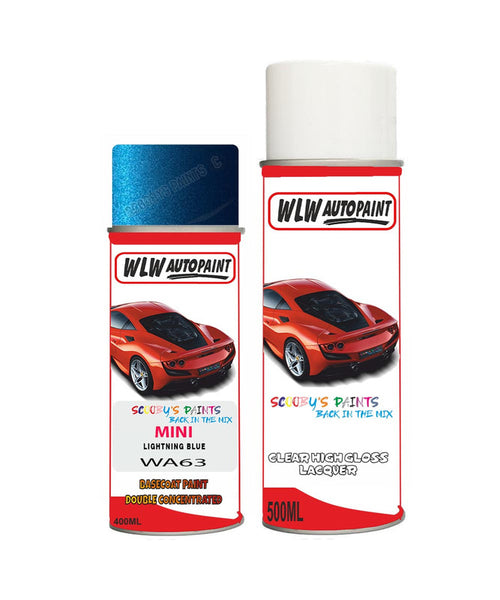 Mini Cooper S Jcw Lightning Blue Aerosol Spray Car Paint + Clear Lacquer Wa63