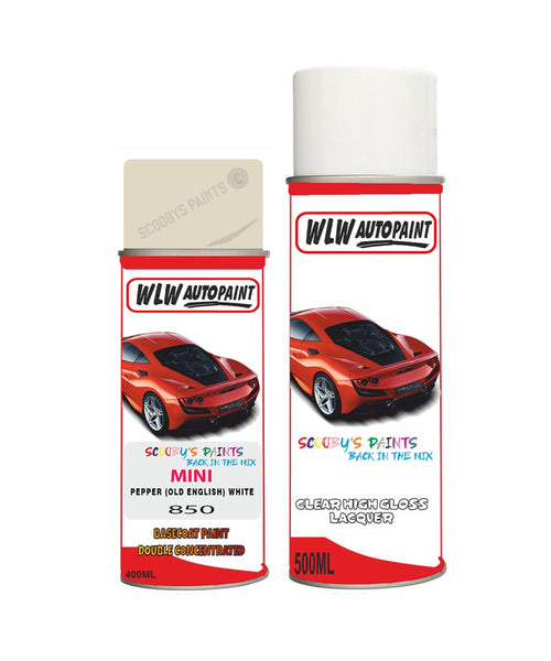 MINI JCW PEPPER (OLD ENGLISH) WHITE Aerosol Spray Car Paint + Clear Lacquer 850