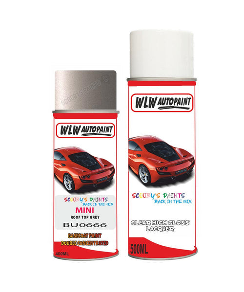 Mini Cooper S Roof Top Grey Aerosol Spray Car Paint + Clear Lacquer Bu0666