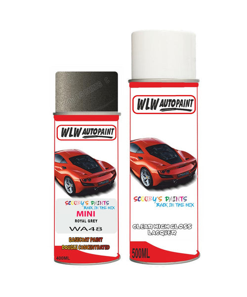MINI COOPER CONVERIBLE ROYAL GREY Aerosol Spray Car Paint + Clear Lacquer WA48