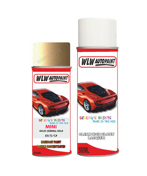 MINI ONE SOLID (SIENNA) GOLD Aerosol Spray Car Paint + Clear Lacquer 859