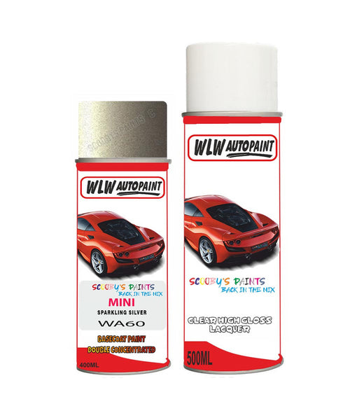 MINI COOPER CONVERIBLE SPARKLING SILVER Aerosol Spray Car Paint + Clear Lacquer WA60