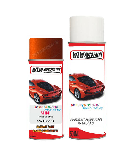 MINI COOPER CONVERIBLE SPICE ORANGE Aerosol Spray Car Paint + Clear Lacquer WB23