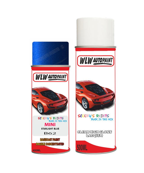 Mini Cooper S Paceman Starlight Blue Aerosol Spray Car Paint + Clear Lacquer B62