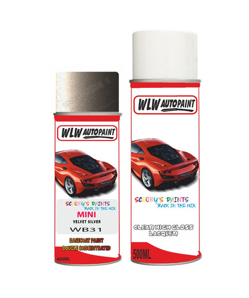 MINI COOPER CONVERIBLE VELVET SILVER Aerosol Spray Car Paint + Clear Lacquer WB31
