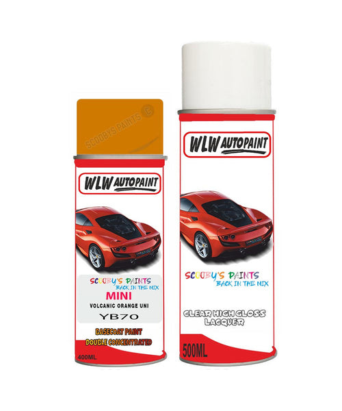 MINI COOPER CONVERIBLE VOLCANIC ORANGE UNI Aerosol Spray Car Paint + Clear Lacquer YB70