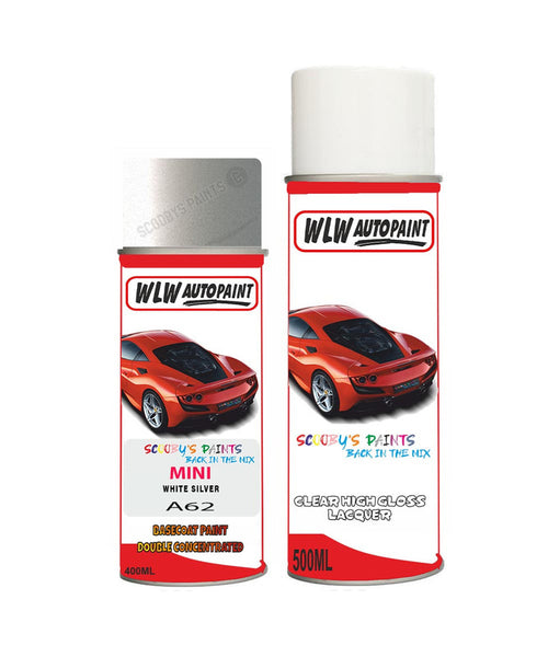 MINI COOPER CONVERIBLE WHITE SILVER Aerosol Spray Car Paint + Clear Lacquer A62
