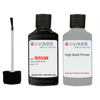 Nissan Navara Cosmic Black Code 732 Touch Up Paint Scratch Stone Chip with anti rust primer undercoat