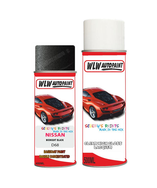 Nissan Nv300 Midnight Black Aerosol Spray Car Paint + Clear Lacquer D68