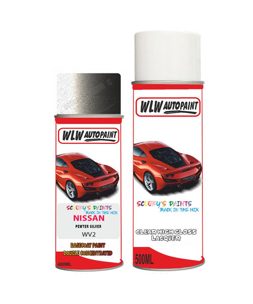NISSAN SKYLINE PEWTER SILVER Aerosol Spray Car Paint + Clear Lacquer WV2