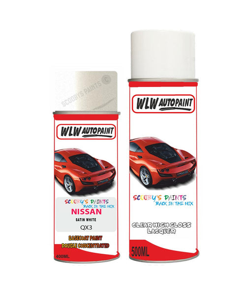 Nissan Xtrail Satin White Aerosol Spray Car Paint + Lacquer Qx3