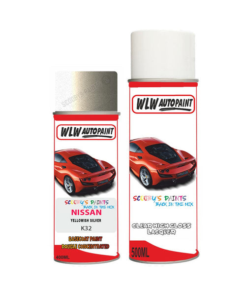 NISSAN SKYLINE YELLOWISH SILVER Aerosol Spray Car Paint + Clear Lacquer K32