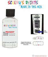 Peugeot Car Touch Up Paint Code Location Blanc Banquise White