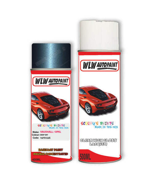 Vauxhall Cascada Deep Sky Aerosol Spray Car Paint + Clear Lacquer 167V/22S/Gwj